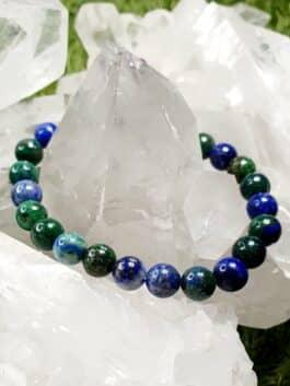 Bracelet Azurite perles rondes 8MM