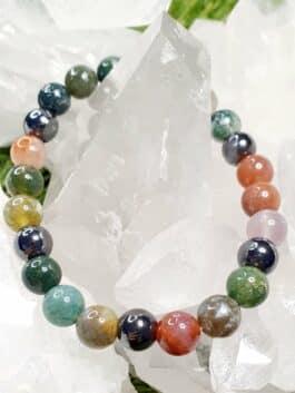 Bracelet Agate Multicolore et Hématite Perles rondes 8 mm