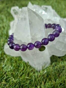 Bracelet améthyste perles rondes 8MM