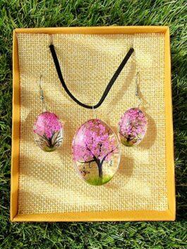 Bijoux Fleurs Pressées – Arbre de la vie rose vif