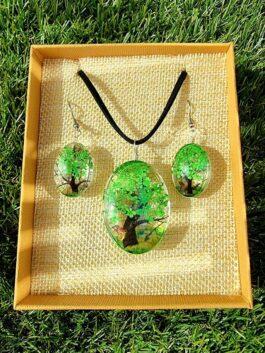 Bijoux Fleurs Pressées – Arbre de la vie vert
