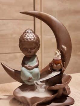 Fontaine à encens pour cônes à refoulement Bouddha sur la lune