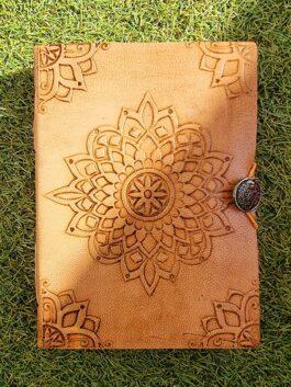 Carnet de note Mandala couverture cuir & papier recyclé